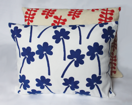 Blue Flower Print and Raspberry Frond