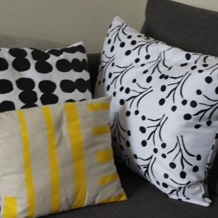 Monchrome Spot Print, Black Stalks and Yellow Stripe Print